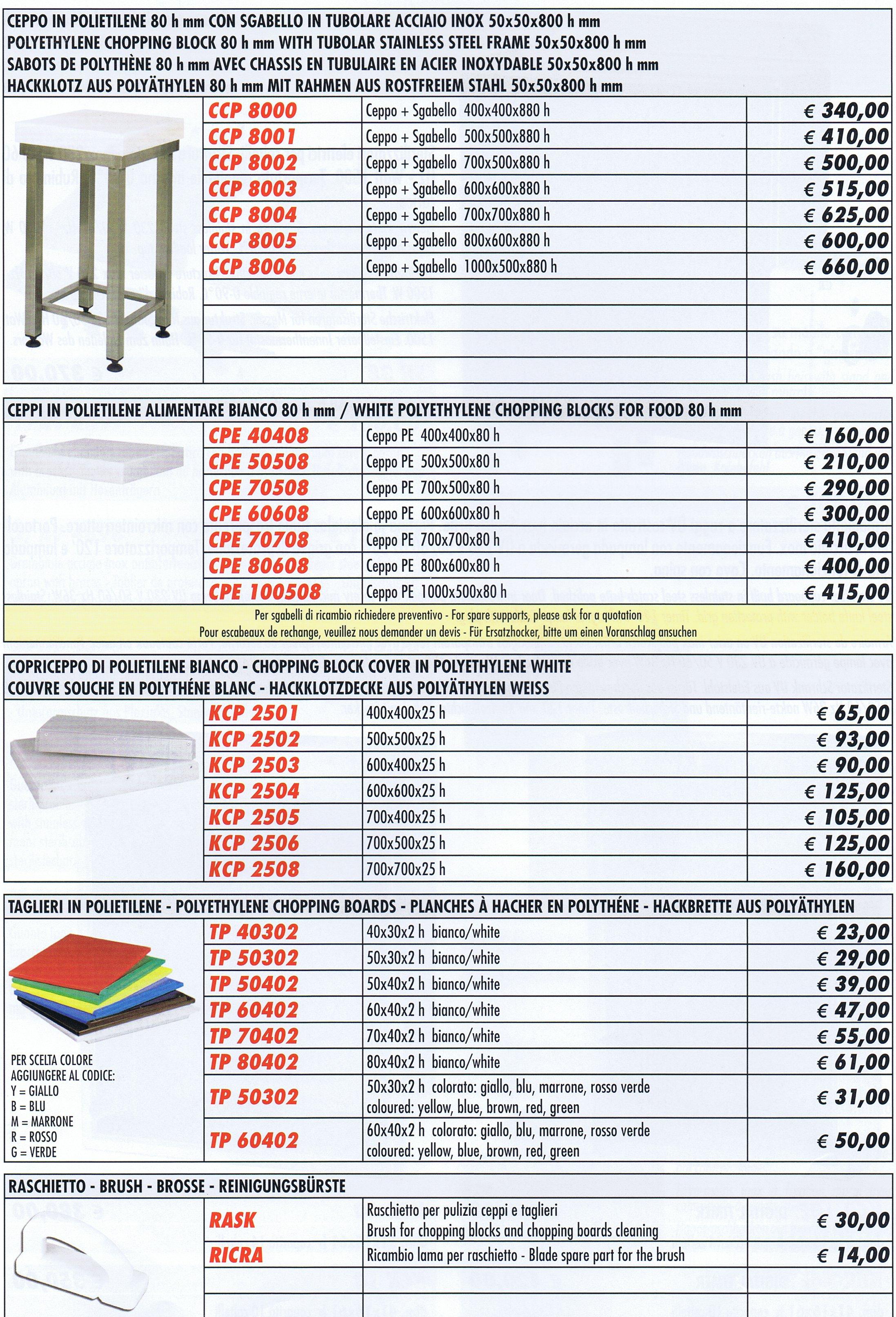 Ceppi polietilene forcar con sgabello varie misure for Poli arredamenti