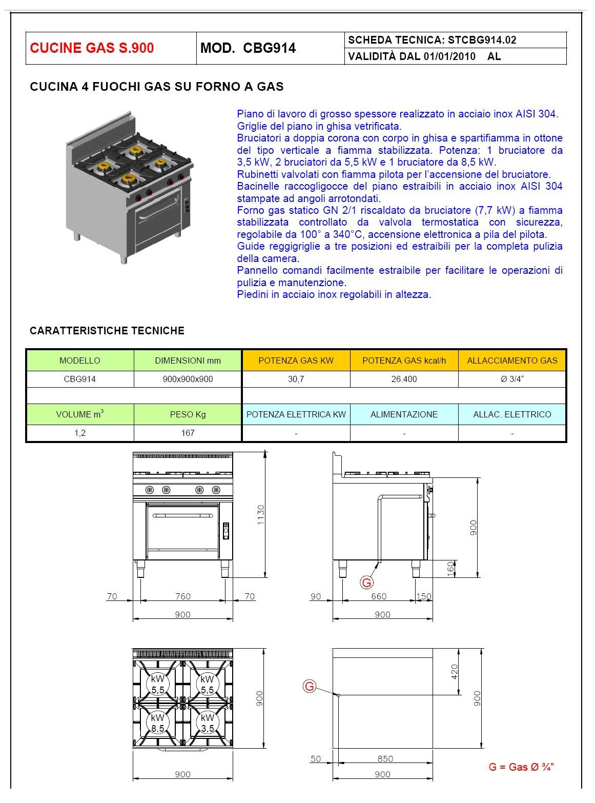 cucina 4 fuochi con forno offcar serie 990 9cbg14. Black Bedroom Furniture Sets. Home Design Ideas
