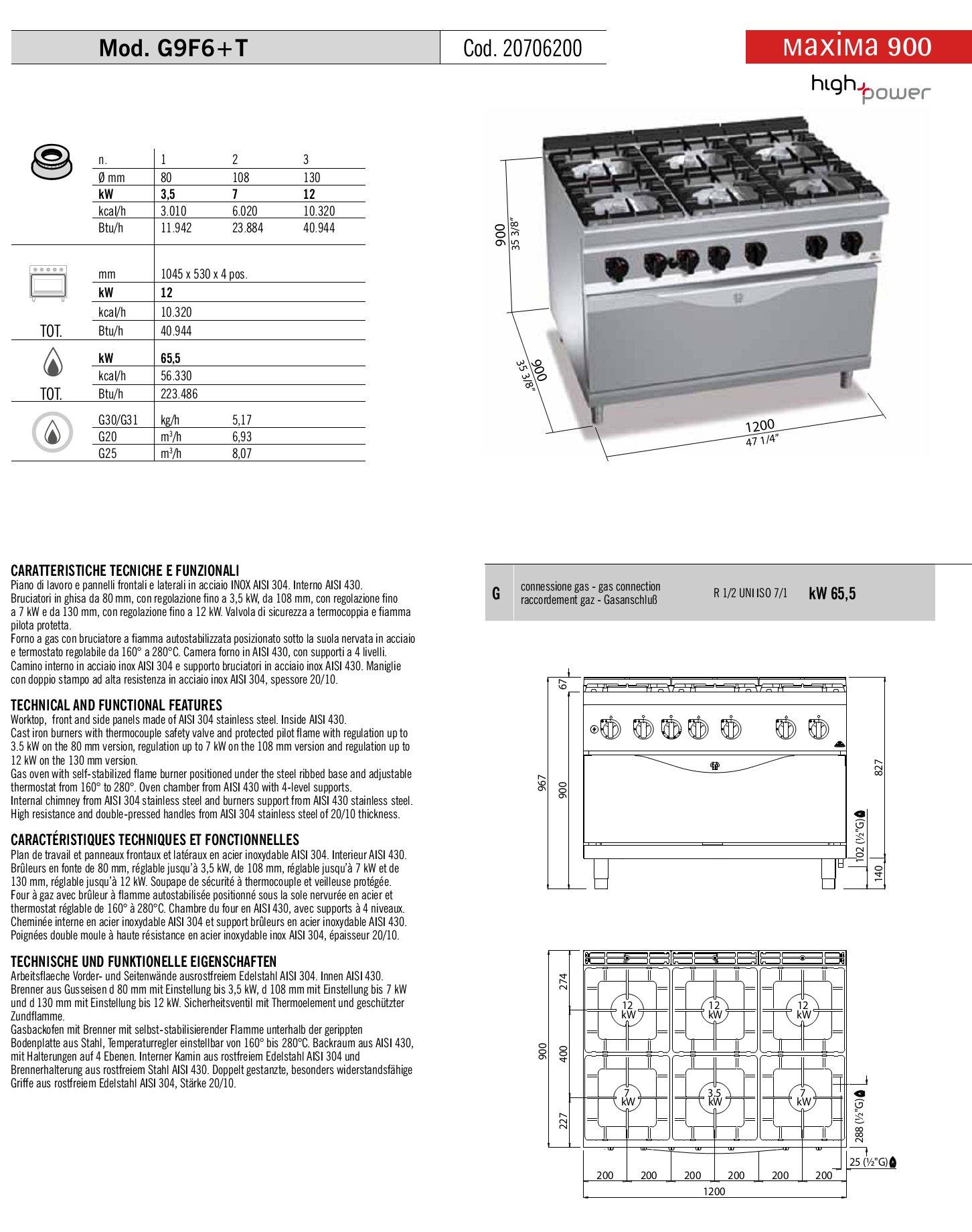 Cucina 6 fuochi berto 39 s high power con forno maxi for Berto arredamenti