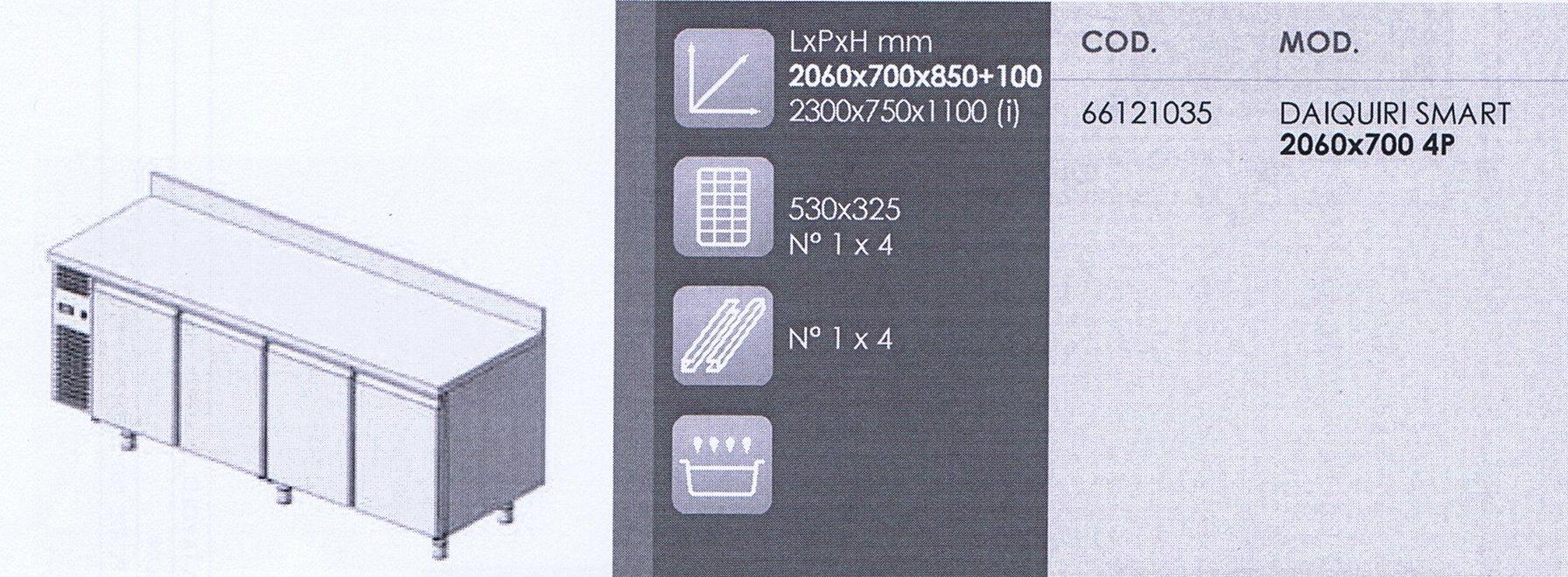tavolo refrigerato daiquiri smart gn 4 porte 0 8 alzatina attrezzature ed arredamenti per. Black Bedroom Furniture Sets. Home Design Ideas