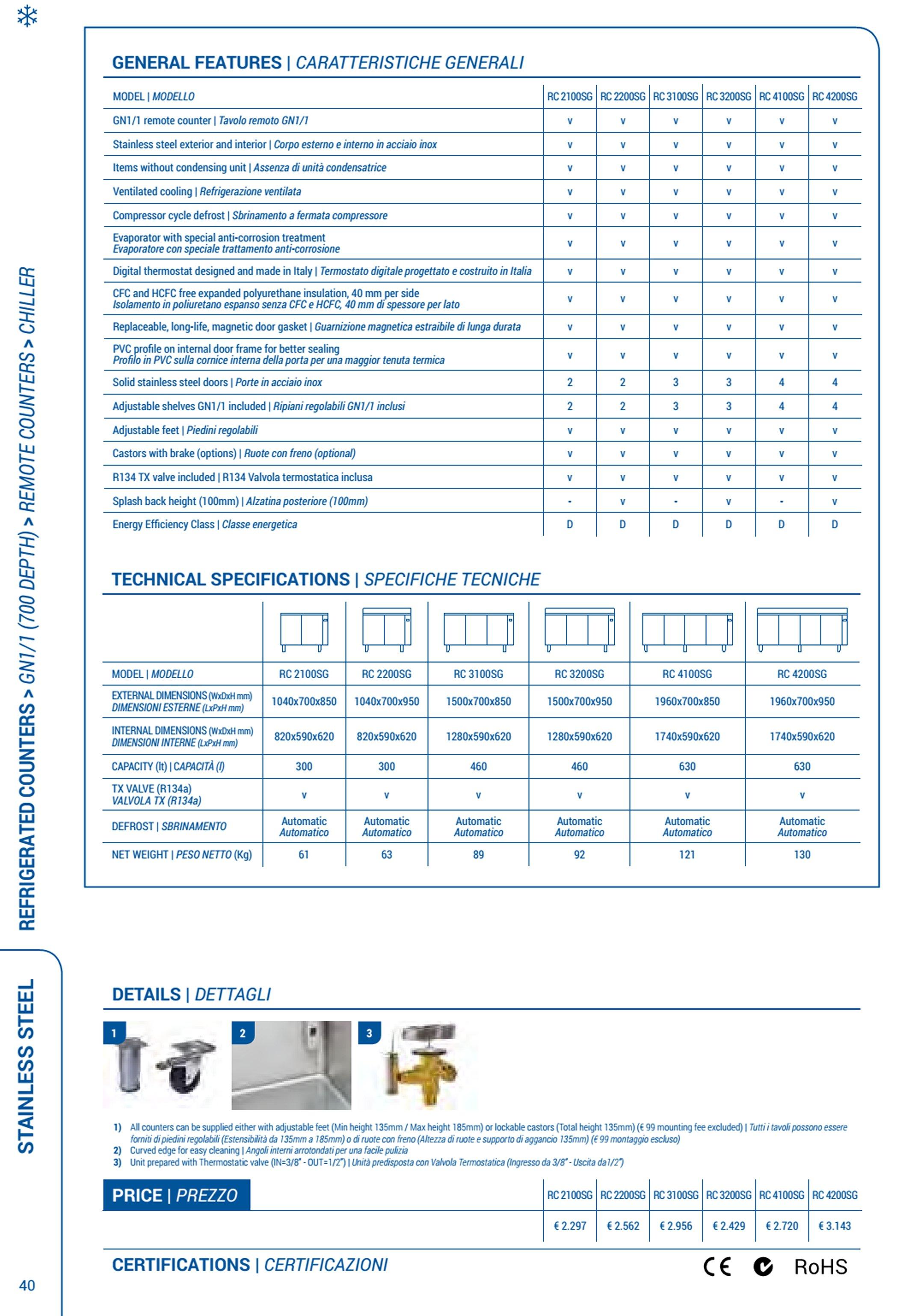 Tavolo refrigerato tre porte RC 3200SG motore remoto 0/+8 ...