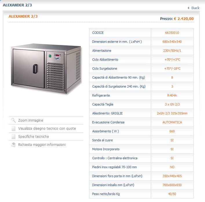 Abbattitore di temperatura alexander 2 3 attrezzature ed for Temperatura abbattitore