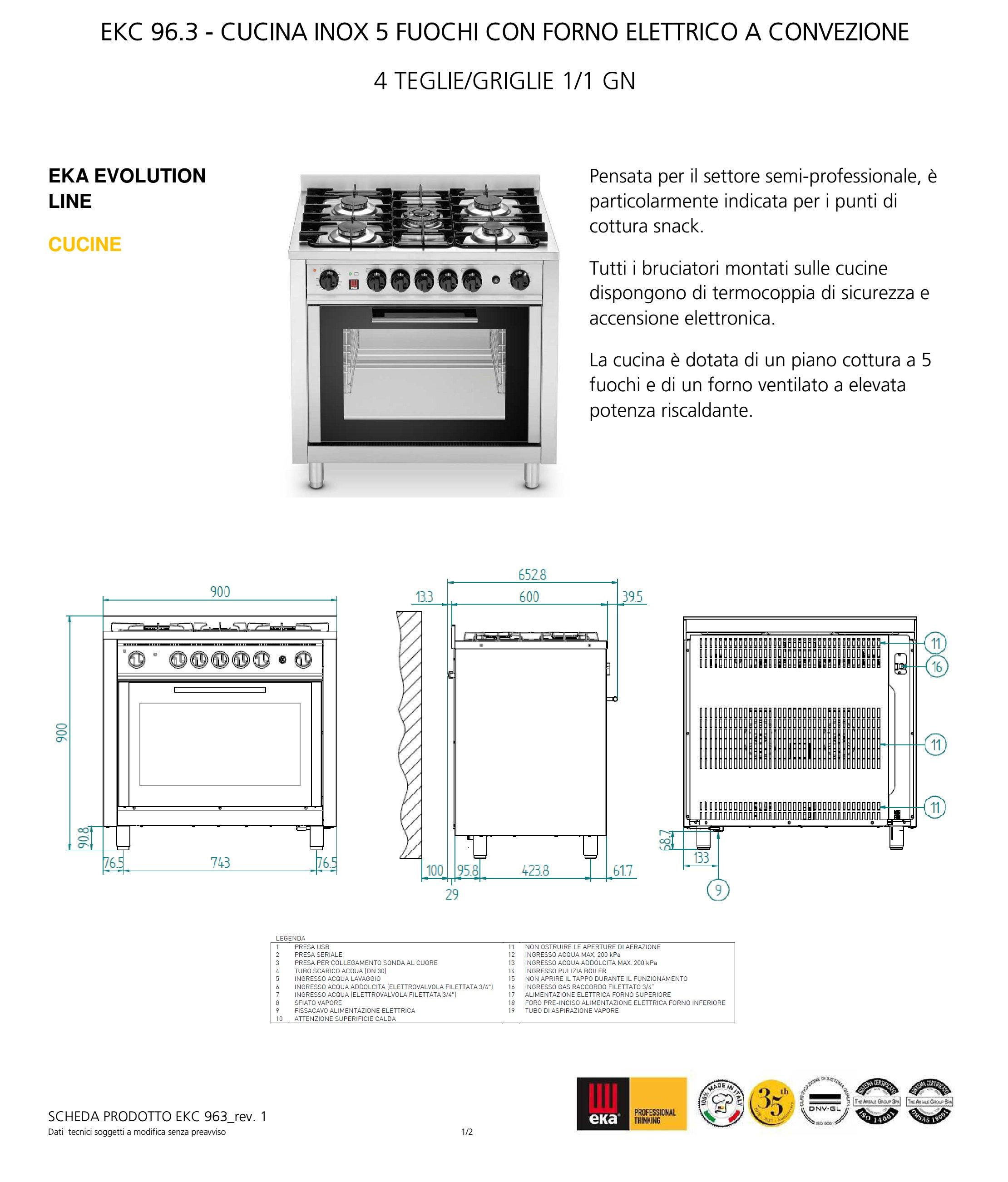 Cucina semi-professionale EKC 96.3, 5 fuochi, forno ...