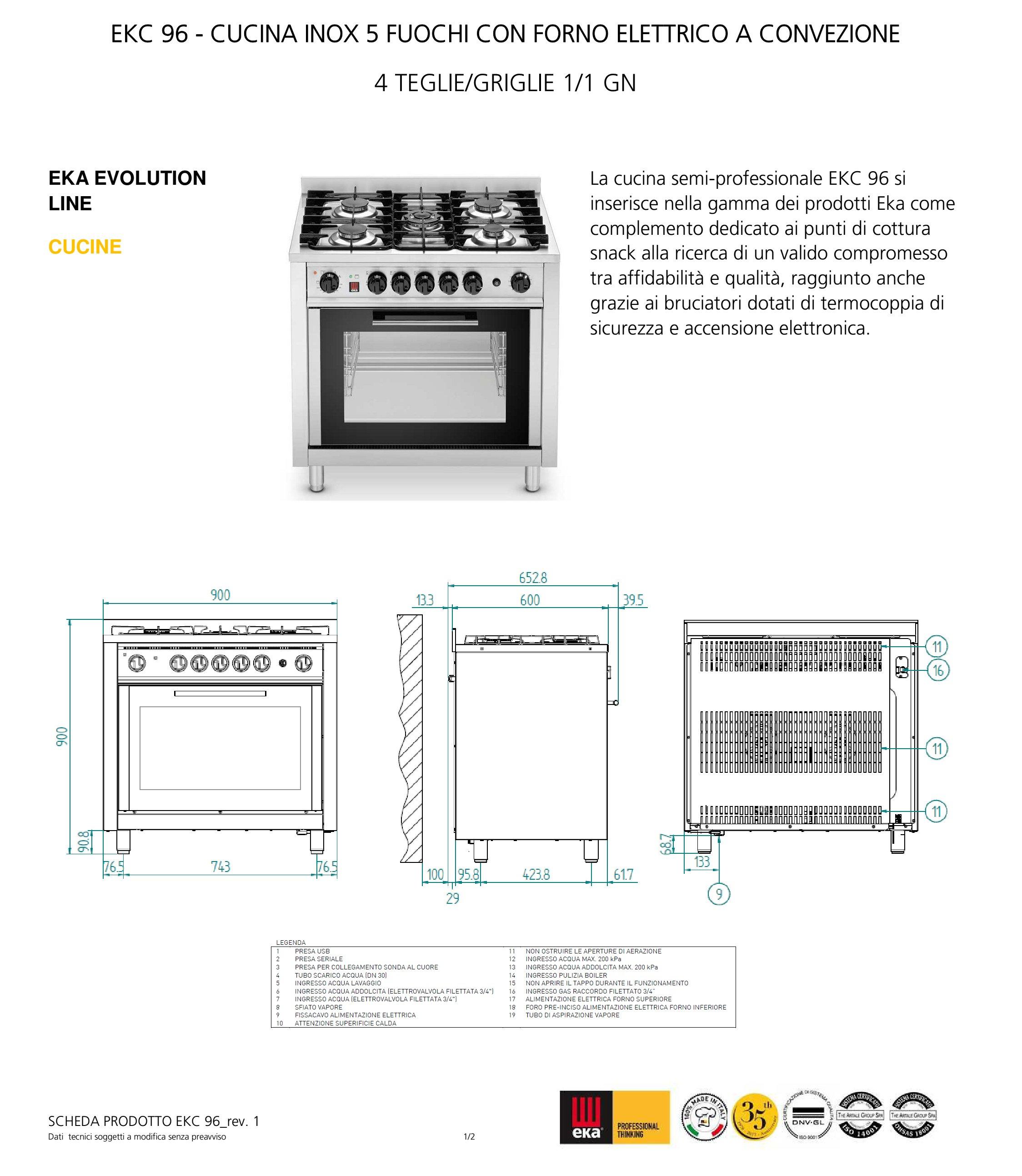 Cucina semi-professionale EKC 96, 5 fuochi, forno elettrico ...