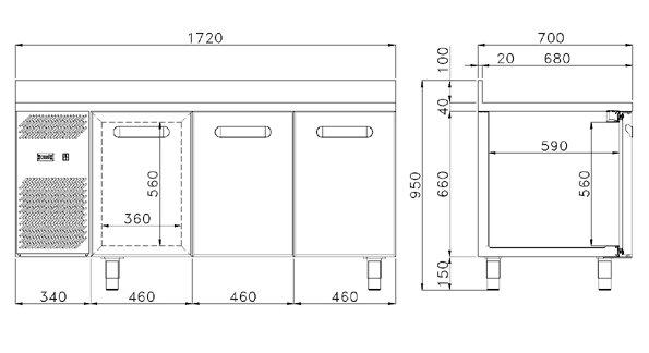 Tavolo refrigerato daiquiri econom 3 porte 0 8 attrezzature ed arredamenti per alberghi - Dimensioni tavolo biliardo casa ...