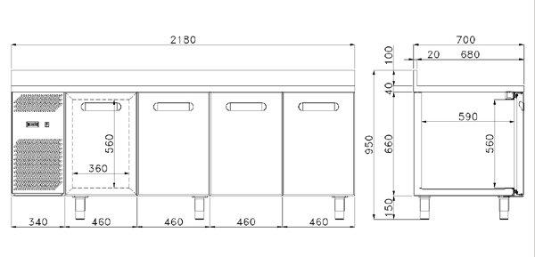 Tavolo refrigerato daiquiri econom 4 porte 0 8 for Misure tavolo