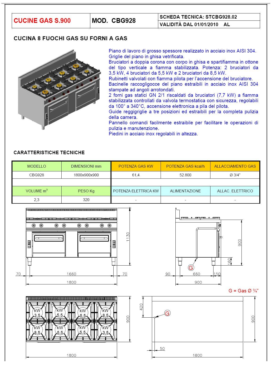 cucina a gas 8 fuochi con 2 forni offcar serie 990 9cbg28. Black Bedroom Furniture Sets. Home Design Ideas
