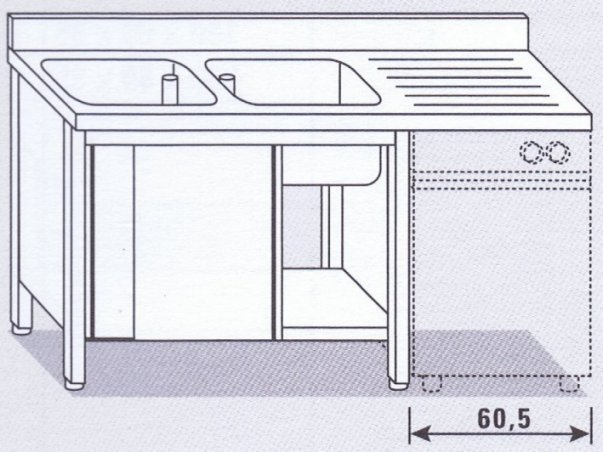 Lavello due vasche su armadio per lavastoviglie - Attrezzature ed ...