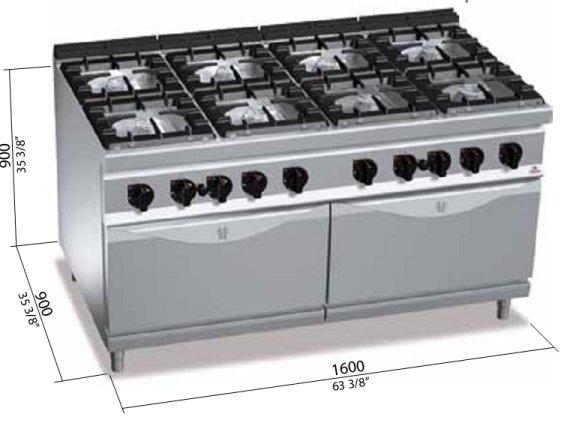 Cucina 8 fuochi berto 39 s high power con due forni gas for Berto arredamenti