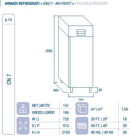 Frigorifero cn 7 inox 550 litri 18 22 classe b for Cn arredamenti