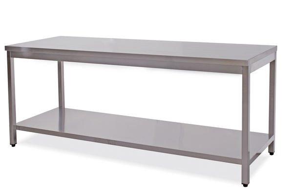 Tavoli inox con ripiano senza alzatina cm.40-200x80 ...