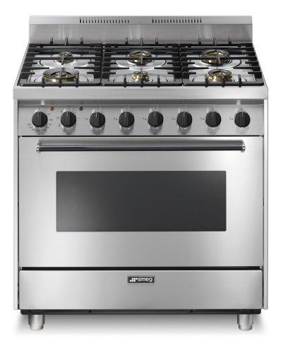 Cucina semi-professionale Smeg CA90E6, 6 fuochi, forno elettrico ...