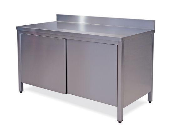 tavoli inox armadiati con alzatina cm.100-200 - attrezzature ed