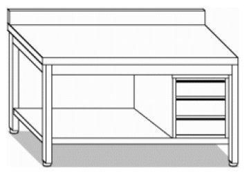 Tavoli inox con cassettiera con e senza alzatina attrezzature ed arredamenti per - Tavoli acciaio inox prezzi ...