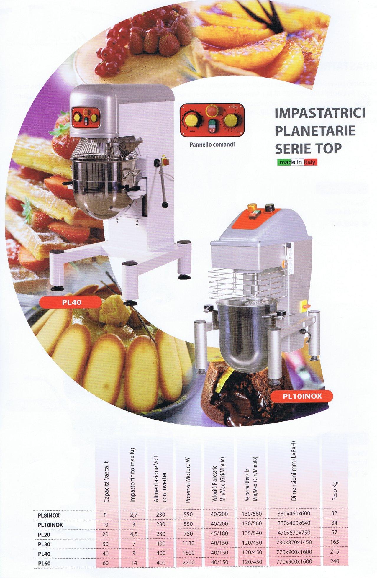 Impastatrice planetaria pl 40 litri serie top - Planetaria cucina ...
